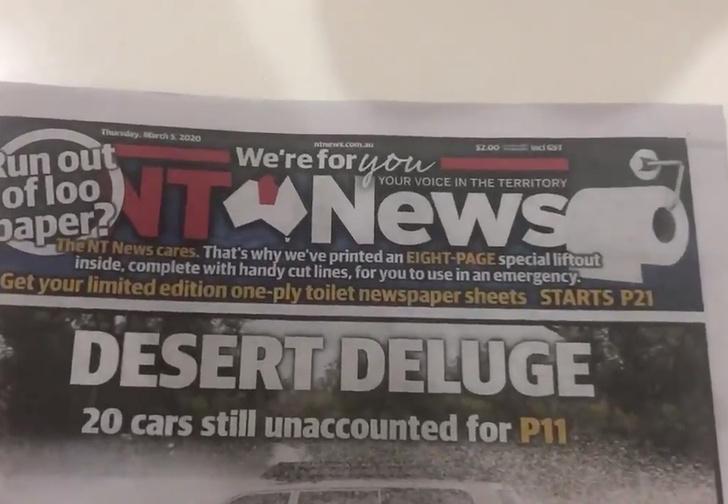 Фото №1 - Австралийская газета вышла с дополнительными страницами, которые можно использовать как туалетную бумагу. Обычную раскупили из-за коронавируса