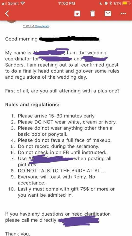 Фото №2 - Список требований жениха и невесты к гостям возмутил Интернет