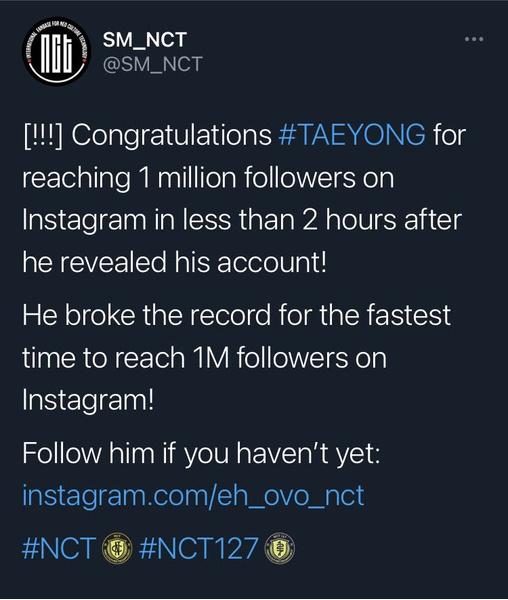 Фото №1 - Тэён из NCT 127 побил рекорд Руперта Гринта по достижению 1 млн фолловеров в Инстаграме