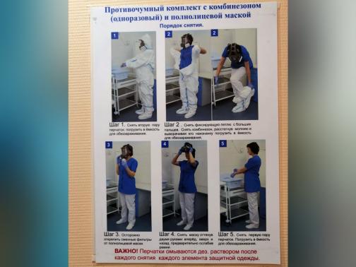 Петербуржцев с подозрением на коронавирус в Боткинской больнице встречают в противочумном костюме и памяткой на китайском