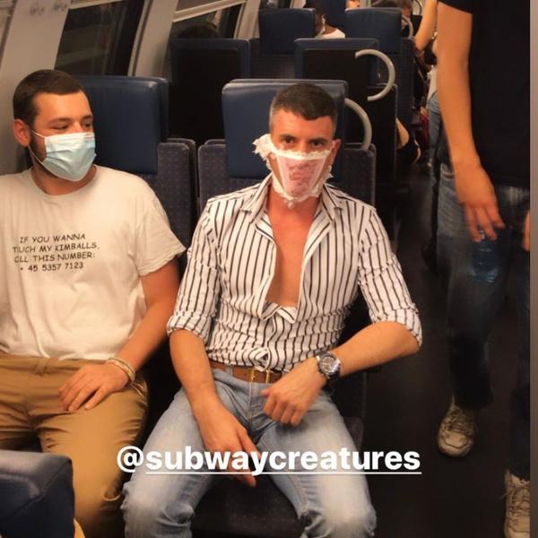 Фото №5 - Как люди ездят в метро во время пандемии: 40 уморительных фото