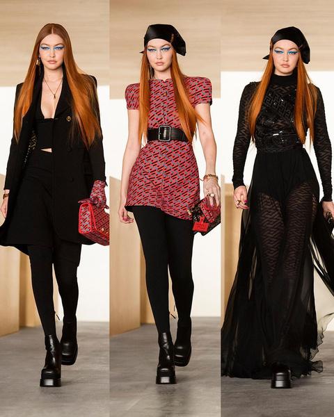 Фото №3 - Показ Versace: стройная и рыжая Джиджи, роковая Ирина и кукольная Белла