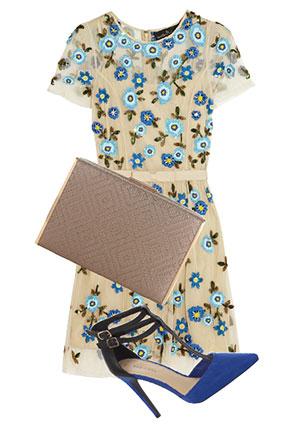 Платье, Needle & Thread, 16 740 руб.; клатч, Accessorize, 2470 руб.; туфли, New Look, 1999 руб.