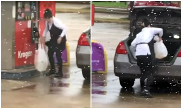 Фото №1 - Женщина наполняет пакеты бензином и кладет их в багажник (видео)