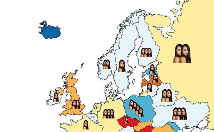 Фото №1 - Карта: количество порнозвезд на миллион человек в странах Европы и в России