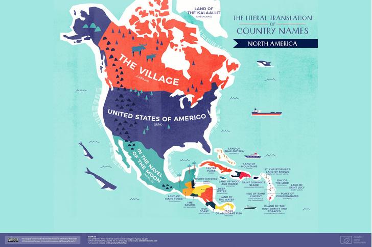 Фото №4 - Опубликована карта мира с буквальным переводом названий стран