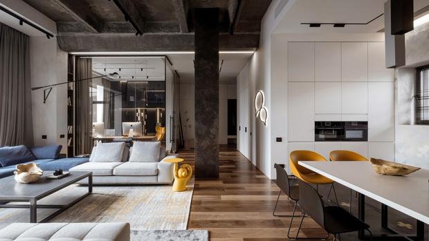 Фото №2 - Квартира 136 м² с бетонным потолком в Москве