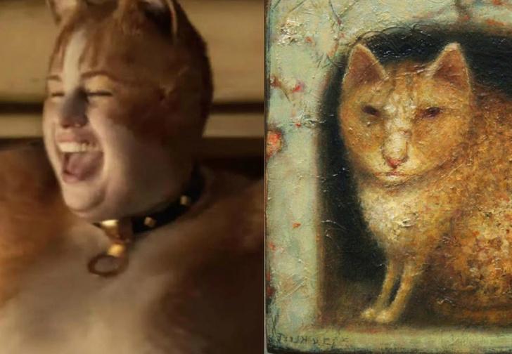 Фото №1 - Тред: персонажей из фильма «Кошки» сравнивают с кошками со средневековых картин