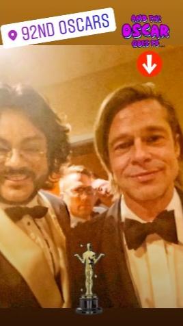 Филипп и Брэд Питт после получения актером «Оскара».