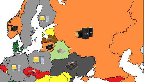 Фото №1 - Карта: Главный продукт экспорта разных стран
