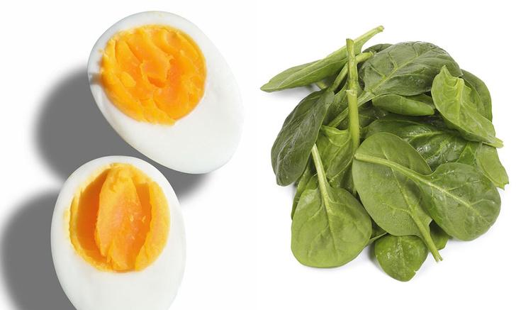 продукты для похудения, как похудеть, яйцо и шпинат польза