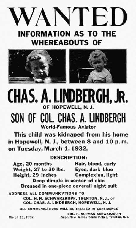 Объявление о поиске сына Линдберга с описанием ребенка