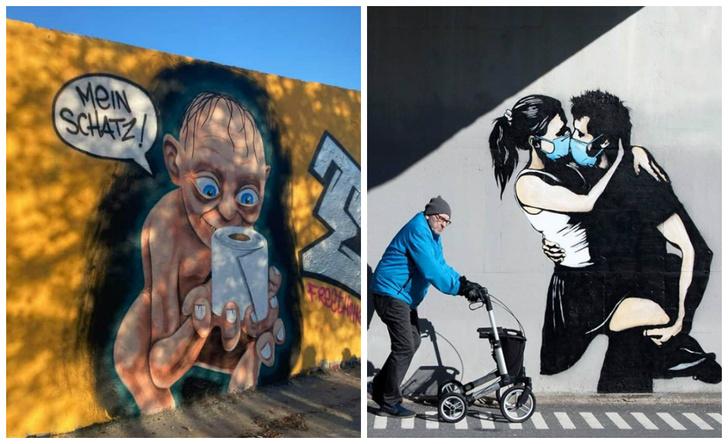 Фото №1 - 20 граффити со всего мира, навеянные коронавирусом