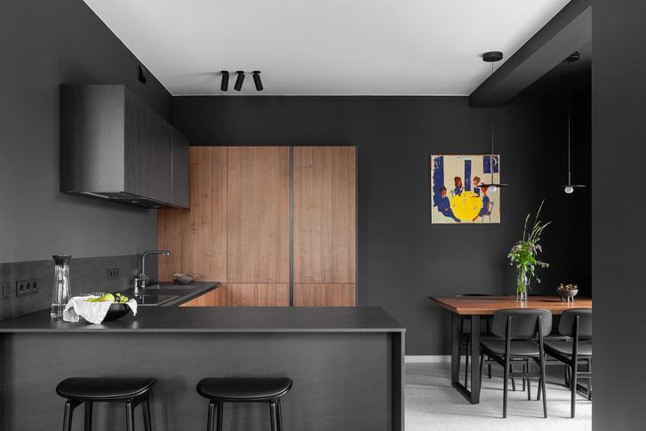 Фото №1 - Черный интерьер с теплыми терракотовыми акцентами: квартира 100 м²