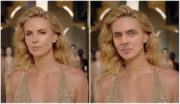 Фото №1 - Лицо Шарлиз Терон в известной рекламе духов заменили на лицо мистера Бина (видео)