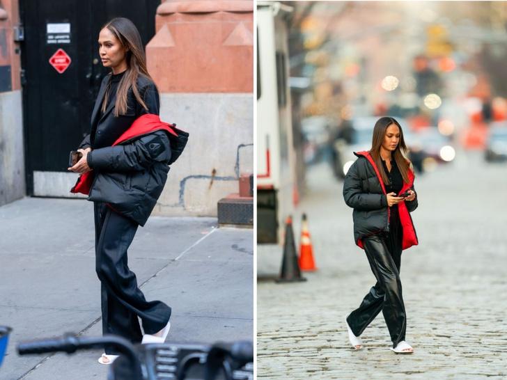 Фото №1 - Два зимних образа модели Джоан Смоллс, которые очень подойдут высоким девушкам