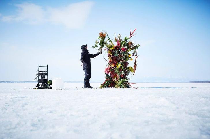 Фото №5 - Инсталляция из замороженных цветов на Хоккайдо