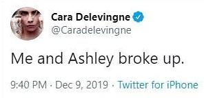 Фото №1 - Кара Делевинь разместила твит о расставании с Эшли Бенсон, а затем удалила его