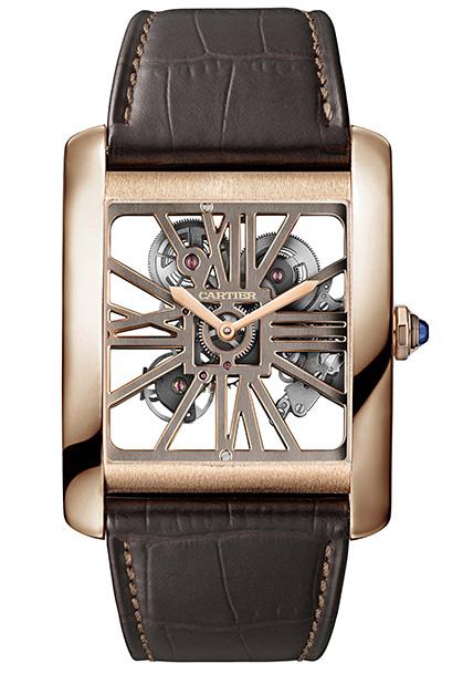 Часы Tank MC, розовое золото, сапфир, Cartier.