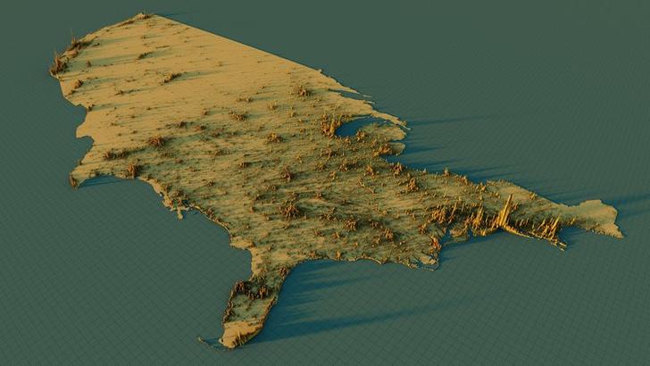 Фото №8 - Красивые трехмерные карты мира, показывающие распределение населения Земли