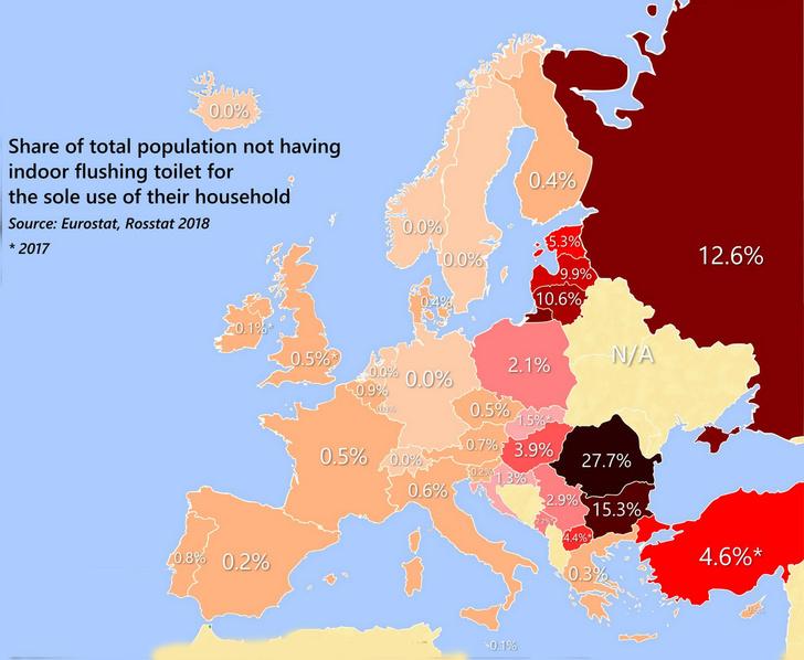 Фото №2 - Карта Европы, показывающая, у какого процента жителей каждой страны дома нет туалета