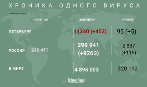 Фото №1 - За сутки коронавирус выявили у 453 петербуржцев