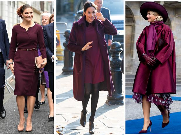Фото №1 - Марсала, сангрия, марон: как королевские особы носят винные оттенки