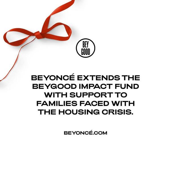 Фото №1 - Фонд Бейонсе «BeyGOOD» поддержит семьи, которым грозит выселение из-за пандемии