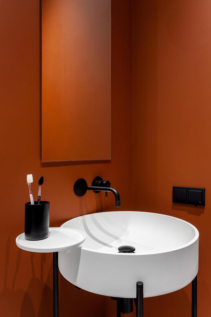 Фото №5 - Черный интерьер с теплыми терракотовыми акцентами: квартира 100 м²