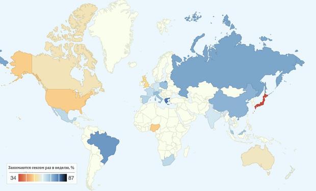 Фото №2 - Карта: как часто в разных странах мира занимаются сексом?