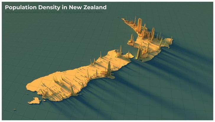Фото №17 - Красивые трехмерные карты мира, показывающие распределение населения Земли
