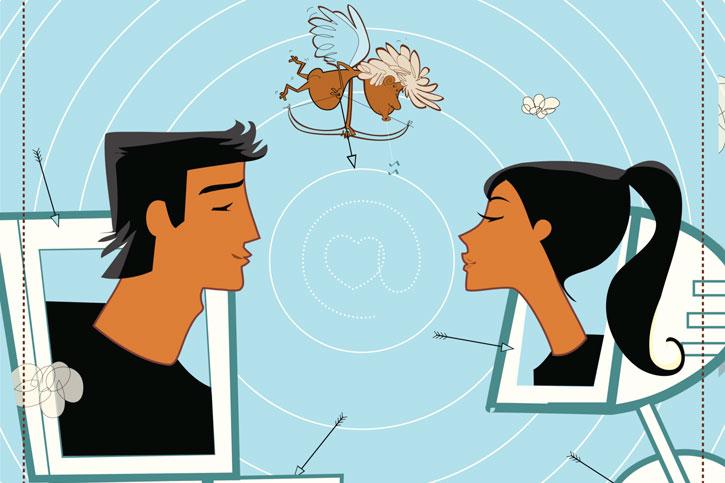 Пара знакомится в интернете