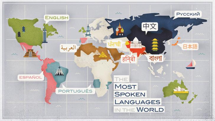 Фото №1 - Карта: 10 самых распространенных языков на планете