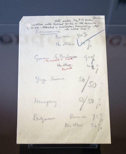 Фото №1 - Набросок соглашения Черчилля и Сталина о разделе Европы впервые показали публике