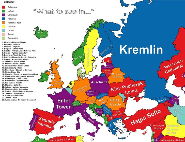 Фото №1 - Карта: главная достопримечательность в каждой стране Европы и Ближнего Востока