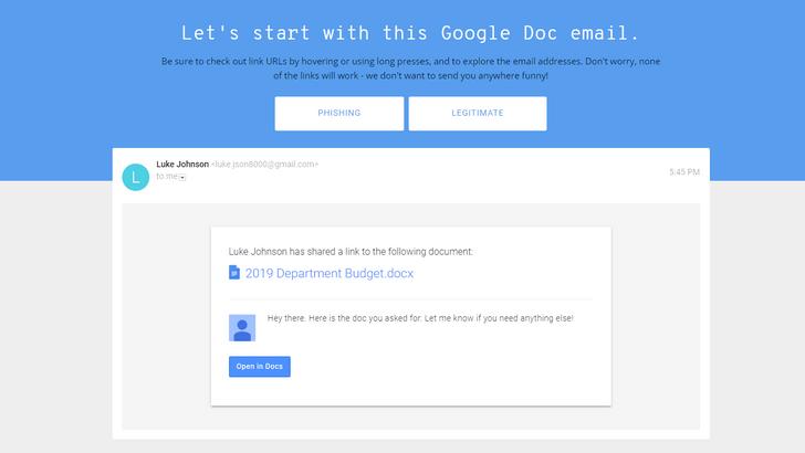 Фото №3 - Сайт дня: Онлайн-игра от Google научит, как не нарваться на хакерскую ссылку в своем email