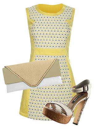 Платье, Kira Plastinina, 1899 руб.; сумка-конверт, Orsa Oro, 1478 руб.; босоножки, Cravo & Canela, hotlook.ru, 3330 руб.