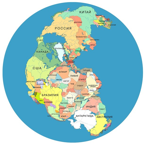 Фото №1 - Карта: как выглядели бы страны мира 300 миллионов лет назад на Пангее