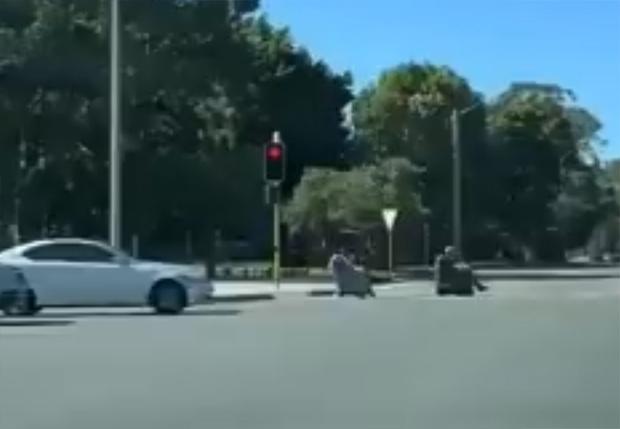 Фото №1 - В Австралии прохожие сняли, как два мужика ездят по дороге в самоходных креслах (видео)