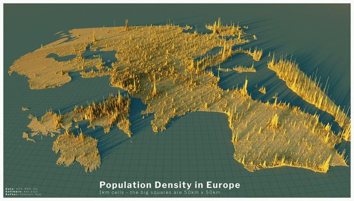 Фото №4 - Красивые трехмерные карты мира, показывающие распределение населения Земли