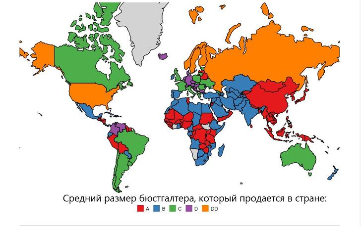 Фото №2 - Карта: размер женской груди в странах мира