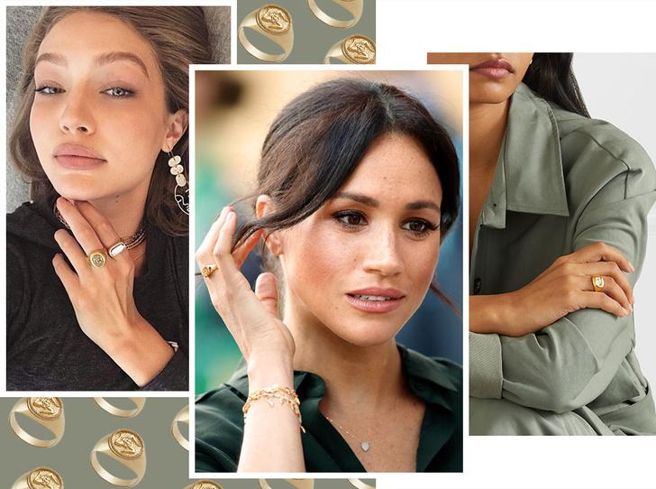 Фото №1 - Тренд аристократов: где искать кольца-печатки, как у Дианы, Меган и Пиппы Миддлтон