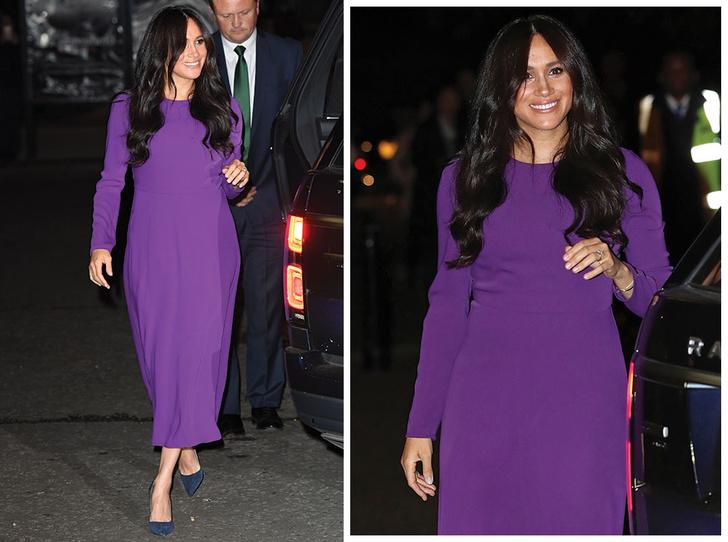 Фото №1 - 10 впечатляющих платьев в фиолетовой гамме, как у герцогини Меган