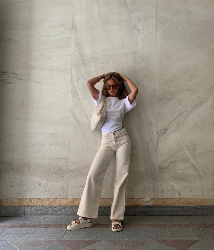 Фото №1 - Сочетайте в одном образе разные оттенки белого, как это делает инфлюенсер Ханна Шонберг
