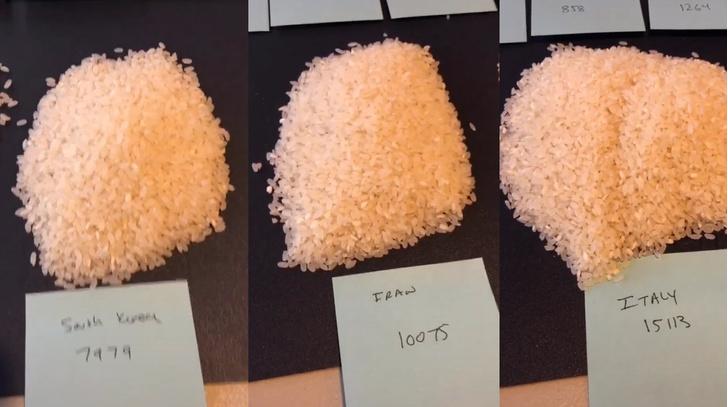 Фото №2 - Блогер показал на рисе, сколько человек заразились коронавирусом в разных странах