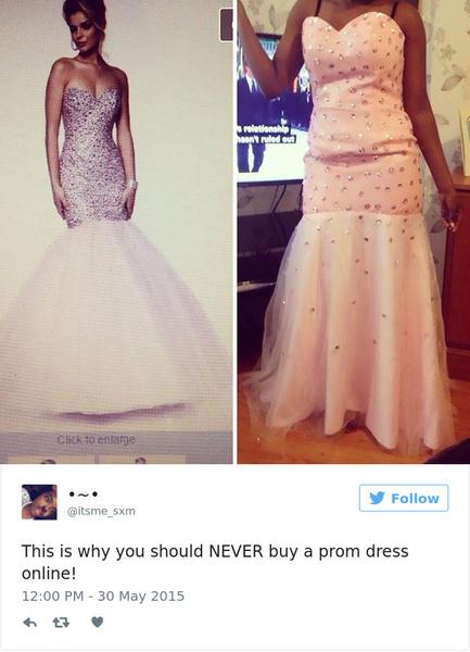 Фото №4 - Ожидание VS реальность: 20 самых нелепых платьев на выпускной, которые заказали в интернете