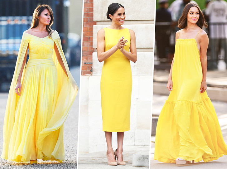 Фото №1 - Цвет силы: как Мелания Трамп, Меган Маркл и другие успешные женщины вводят в моду желтые платья