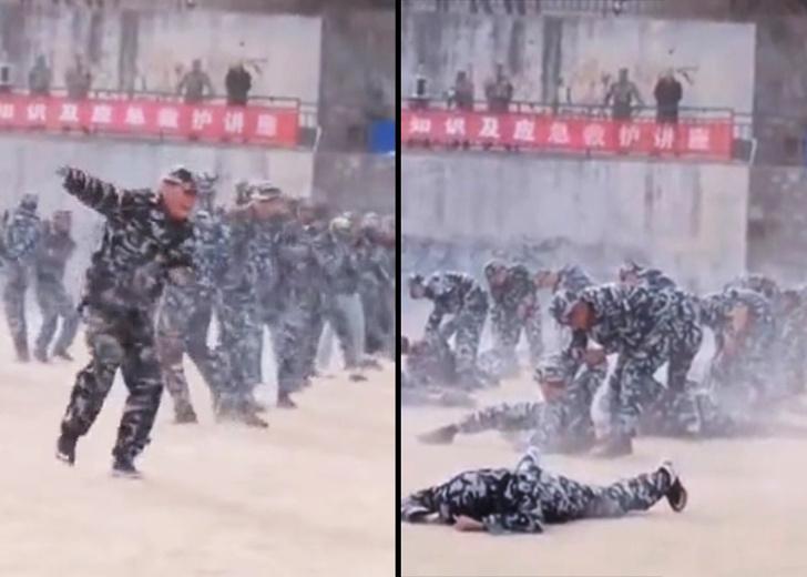 Фото №1 - Военный остался без пары на выступлениях по рукопашному бою, но и в одиночку умело провел прием (видео)