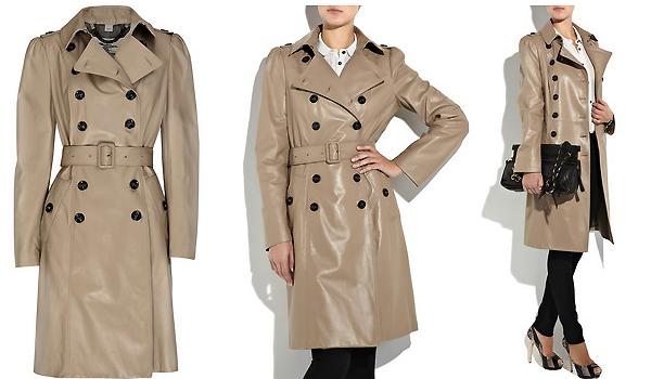 Кожаное пальто от Burberry