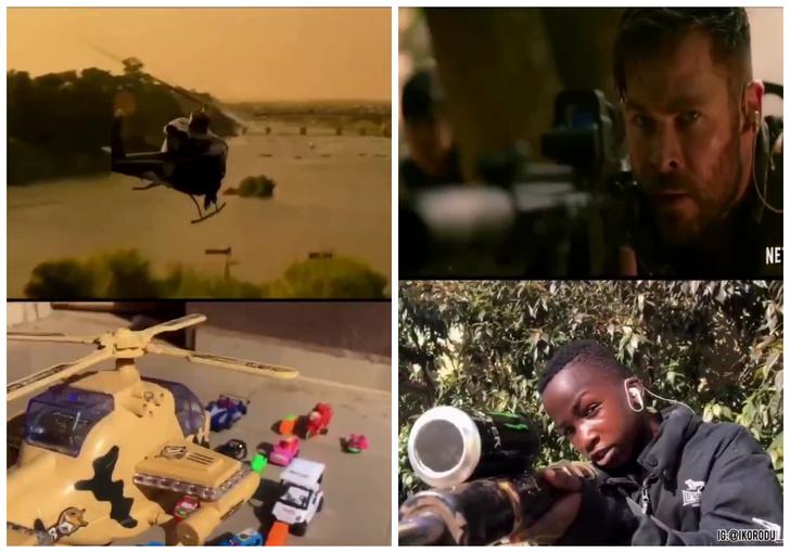 Фото №1 - Нигерийские подростки переснимают трейлеры, и их версия боевика с Крисом Хемсвортом набрала 10 млн просмотров